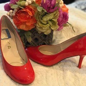 Unisa red heeled pumps